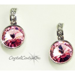 Lt Rose 15mm Linked Earring with Single Row Crystal Rhinestones