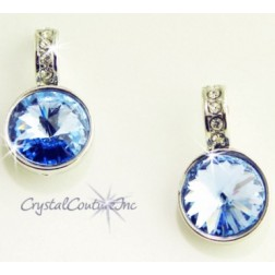 Lt Sapphire 15mm Linked Earring with Single Row Crystal Rhinestones