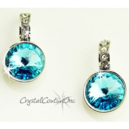 Lt Turquoise 15mm Linked Earring with Single Row Crystal Rhinestones