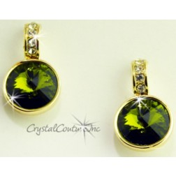 Olivine 15mm Linked Gold Earring with Single Row Crystal Rhinestones