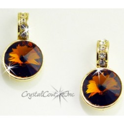Smoke Topaz 15mm Linked Gold Earring with Single Row Crystal Rhinestones