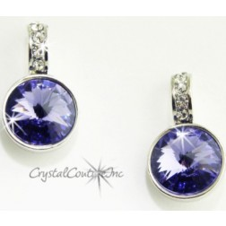 Tanzanite 15mm Linked Earring with Single Row Crystal Rhinestones