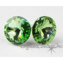Peridot 10mm Rivoli Post Earrings made with SWAROVSKI ELEMENTS