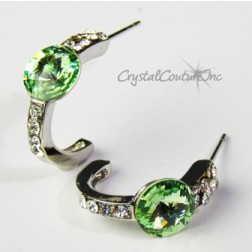 Peridot 8mm Rivoli Post Earrings with Rhinestone Half Hoop
