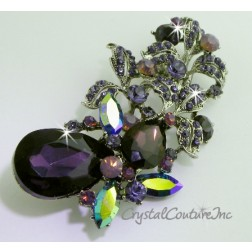 "Antique Purple/Tanzanite/Cyclamen Opal Rhinestone Brooch 3.25"" x 1.75"""