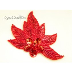 Red Beaded & Sequin Flower/Leaf Applique