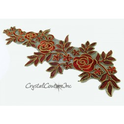Red/Gold Floral Lace Embroidered Applique