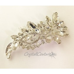 Crystal Large and Small Navette Rhinestone 4.5 inch Comb