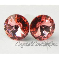 Rose Peach 10mm Rivoli Post Earrings made with SWAROVSKI ELEMENTS
