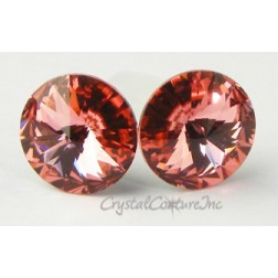 Rose Peach 15mm Rivoli Post Earrings made with SWAROVSKI ELEMENTS