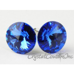 Sapphire 10mm Rivoli Post Earrings made with SWAROVSKI ELEMENTS