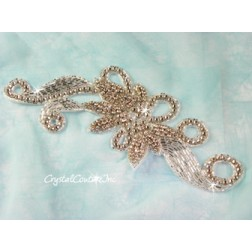 Silver/Crystal Bead Floral Scroll Applique