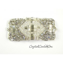 Silver Bead & Crystal Rhinestone Rectangle Applique