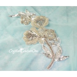 Silver/Crystal Beaded & Rhinestone Applique
