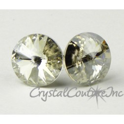 Silver Shade 10mm Rivoli Post Earrings made with SWAROVSKI ELEMENTS
