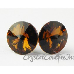 Smoked Topaz 10mm Rivoli Post Earrings made with SWAROVSKI ELEMENTS