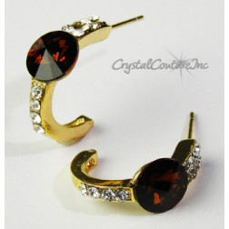 Smoked Topaz/Gold 8mm Rivoli Post Earrings with Rhinestone Half Hoop