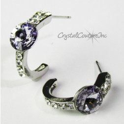 Smokey Mauve 8mm Rivoli Post Earrings with Rhinestone Half Hoop