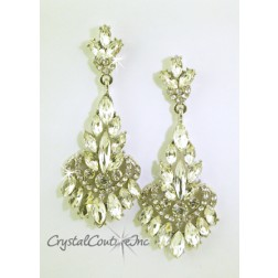 "Crystal/Silver Small Navette Rhinestone 3"" Earring"
