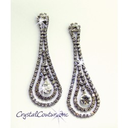 "Crystal/Graphite 3"" Rhinestone Dangling Earring with Crystal Drop"