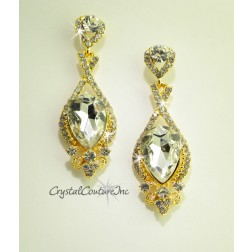"Crystal/Gold Pear Shape 2 1/2"" Rhinestone Earring with Small Rhinestones"