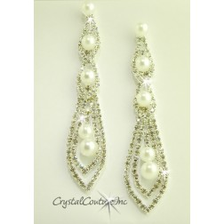 "Crystal/Pearl/Silver Rhinestone 3 3/4"" Earring with Pearls"