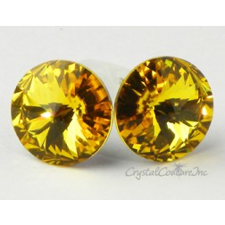Sunflower 15mm Rivoli Post Earrings made with SWAROVSKI ELEMENTS