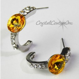 Sunflower 8mm Rivoli Post Earrings with Rhinestone Half Hoop