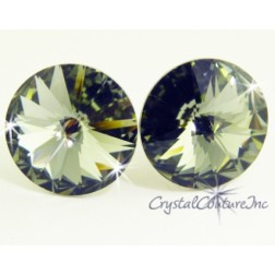 Black Diamond 15mm Rivoli Post Earrings made with SWAROVSKI ELEMENTS