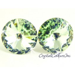 Chrysolite 15mm Rivoli Post Earrings made with SWAROVSKI ELEMENTS