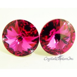 Fuchsia 15mm Rivoli Post Earrings made with SWAROVSKI ELEMENTS
