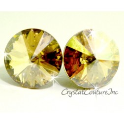 Golden Shadow 15mm Rivoli Post Earrings made with SWAROVSKI ELEMENTS