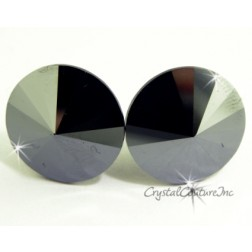 Jet Hematite 15mm Rivoli Post Earrings made with SWAROVSKI ELEMENTS