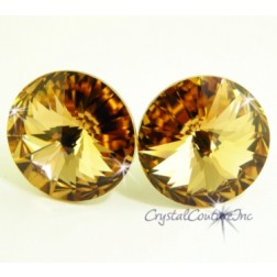 Lt Colorado Topaz 15mm Rivoli Post Earrings made with SWAROVSKI ELEMENTS