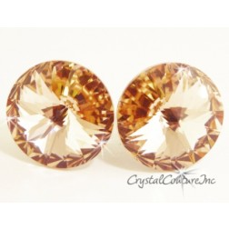 Lt Peach 15mm Rivoli Post Earrings made with SWAROVSKI ELEMENTS