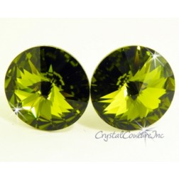 Olivine 15mm Rivoli Post Earrings made with SWAROVSKI ELEMENTS