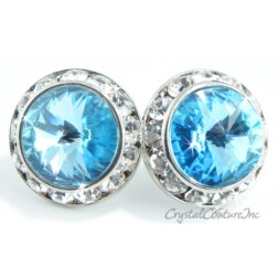 Aquamarine 15mm Rondelle Post Earrings made with SWAROVSKI ELEMENTS