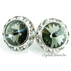 Black Diamond 20mm Rondelle Post Earrings made with SWAROVSKI ELEMENTS