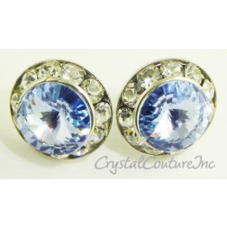 Lt Sapphire 15mm Rondelle Post Earrings made with SWAROVSKI ELEMENTS