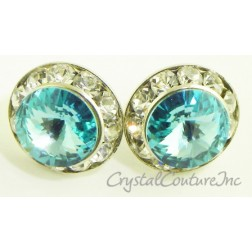 Lt Turquoise 15mm Rondelle Post Earrings made with SWAROVSKI ELEMENTS