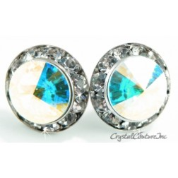 Crystal AB 20mm Rondelle CLIP Earrings made with SWAROVSKI ELEMENTS