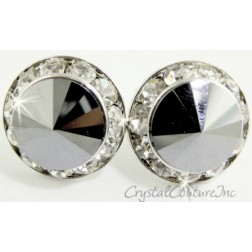 Jet Hematite 20mm Rondelle Post Earrings made with SWAROVSKI ELEMENTS