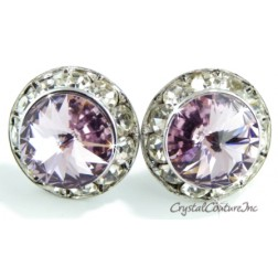 Lt Amethyst 15mm Rondelle Post Earrings made with SWAROVSKI ELEMENTS
