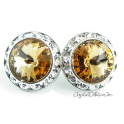 Lt Colorado Topaz 20mm Rondelle Post Earrings made with SWAROVSKI ELEMENTS