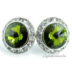 Olivine 20mm Rondelle Post Earrings made with SWAROVSKI ELEMENTS