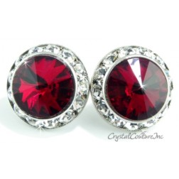 Siam 20mm Rondelle Post Earrings made with SWAROVSKI ELEMENTS