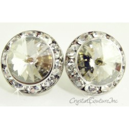 Silver Shade 20mm Rondelle Post Earrings made with SWAROVSKI ELEMENTS