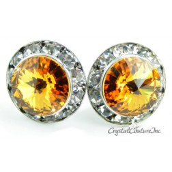 Topaz 15mm Rondelle Post Earrings made with SWAROVSKI ELEMENTS