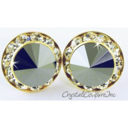 Jet Hematite 15mm Rondelle Post Earrings made with SWAROVSKI ELEMENTS