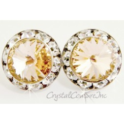 Lt Peach 20mm Rondelle Post Earrings made with SWAROVSKI ELEMENTS